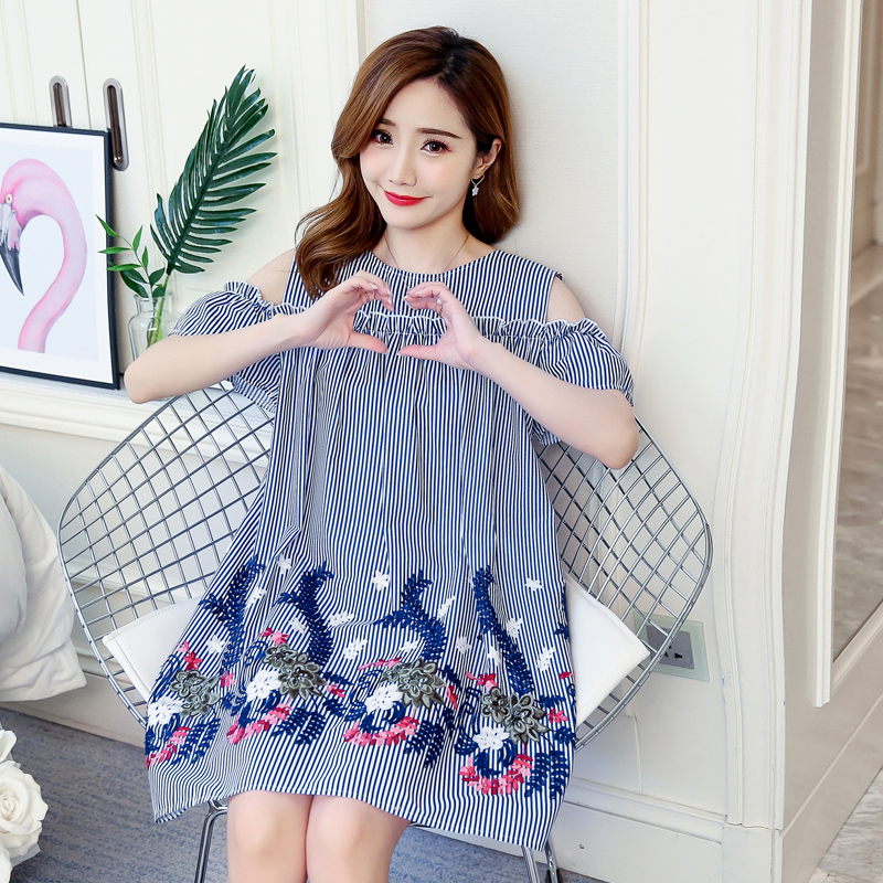 Embroidery Floral Maternity Clothes 2018 Casual Pregnancy Dress Loose Cotton Pregnancy Clothing Of Pregnant Women Vestidos