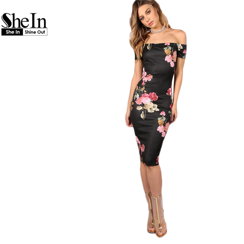Shein sexy vestidos de fiesta bodycon off shoulder dress negro escote bardot flo