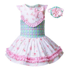 Pettigirl Wholesale Flower Print Girl Party Dresses For Kids Pink Bow Dress  With Headband Children Clothes G-DMGD104-B246 d057b6b02ca5
