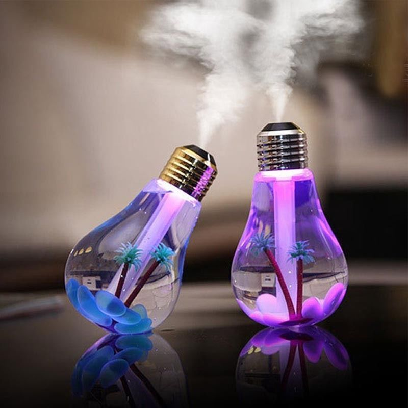 Portable New USB LED Mini Bulbs Shape Humidifiers Air Purifier Aroma Diffuser Home Car Lights PET Environmental ladybird shape humidifiers cartoon nebulizer suitable for car