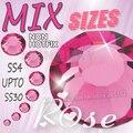 Tamanhos Mix Rose Red Nail Art Strass SS4 SS6 SS8 SS10 ss12 ss16 ss20 ss30 para diy jóias glitters strass não hotfix cristais