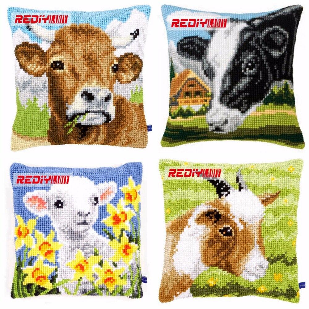 Como Hacer Cojines Decorativos Punto De Cruz.Rediy Cruz Cojin Cubierta Vaca Y Cabra Decorativo Funda De Almohada