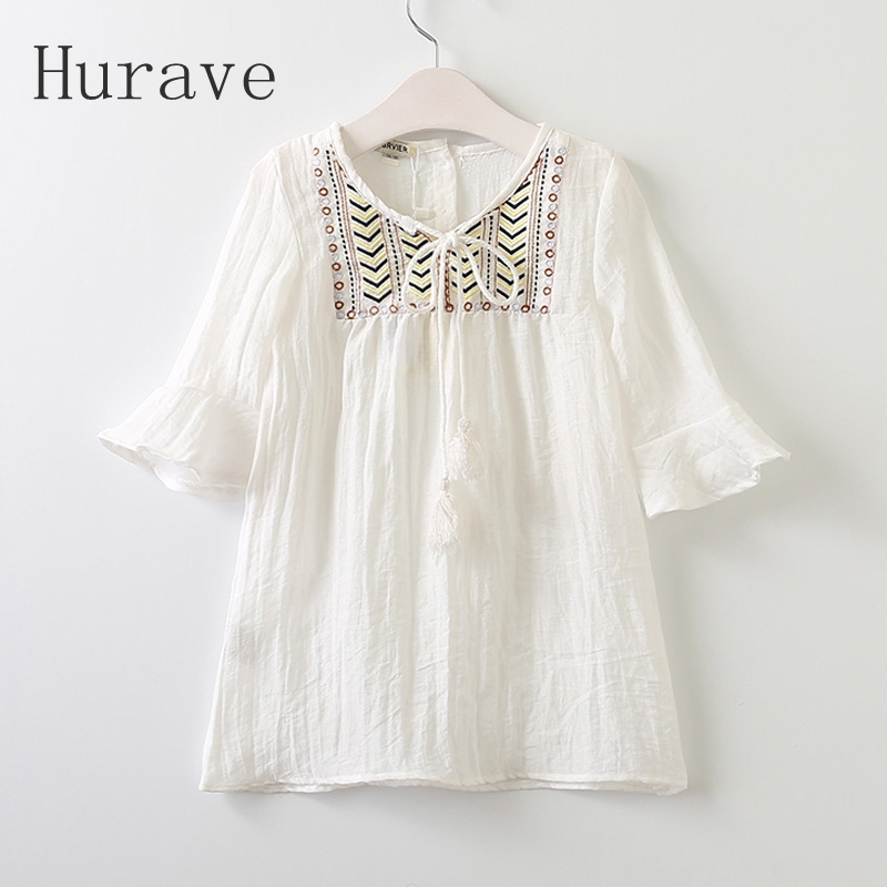 Hurave 2017 New Bohemian Dress Girls Boho Dresses Cotton Spring Summer Kids Half Sleeve Casual Clothes Teenager Clothing A13L2