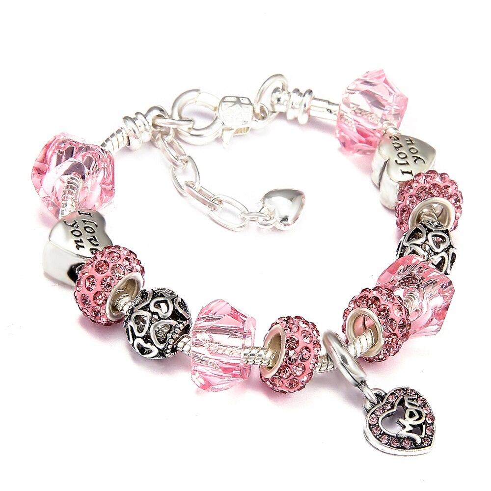 2018 DIY Mom Heart Charms Bracelet with Crystal Glass Beads Fit Snake Chain Brand Bracelet for Women Jewelry Pulseira пандора браслет с шармами