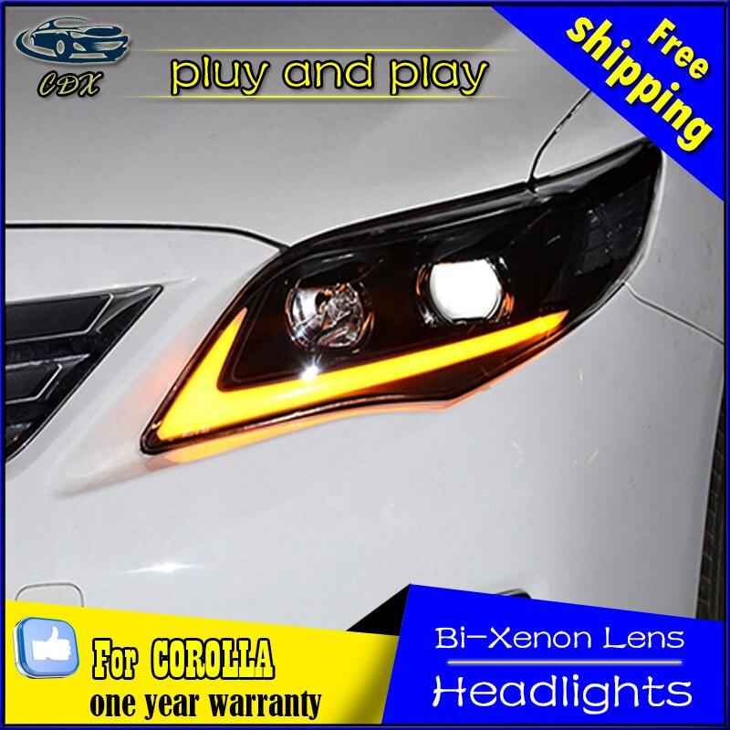 Car Styling Head Lamp for Toyota Corolla Headlights 2011-2013 Altis LED Headlight Daytime Running Light Bi-Xenon HID Accessories car styling headlights for toyota rav4 led headlight 2013 2015 for rav4 head lamp led daytime running light q5 lens bi xenon hid