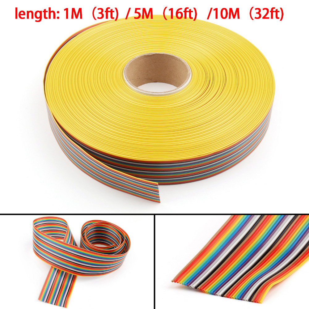 Areyourshop 34Pin Color Rainbow Ribbon Wire Cable Flat 1.27mm Spacing Pitch Max 300V 34Pin 1M/5M/10M Hot Sale Cables Wires