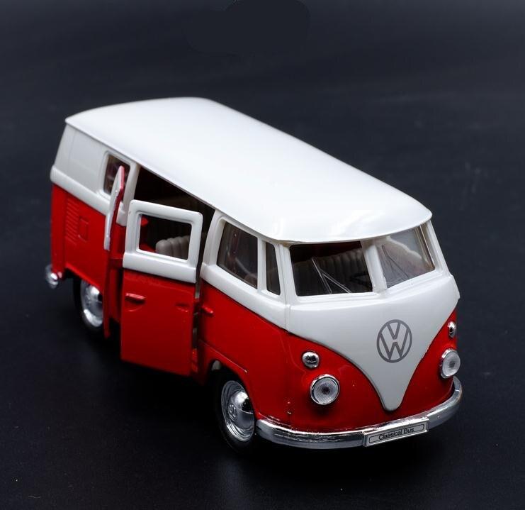 1:36 alta imitazione modello in lega di bus, Volkswagen T1 tirare indietro giocattolo autobus metallo, 2 porta aperta giocattolo Per Bambini veicoli, trasporto libero