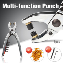 цена на 1pcs Multi-function Punch Hole Punches Leather Hole Pliers Rivets Eyelet Metal Retainer Punching Machine  Eyelets Grommets Tool