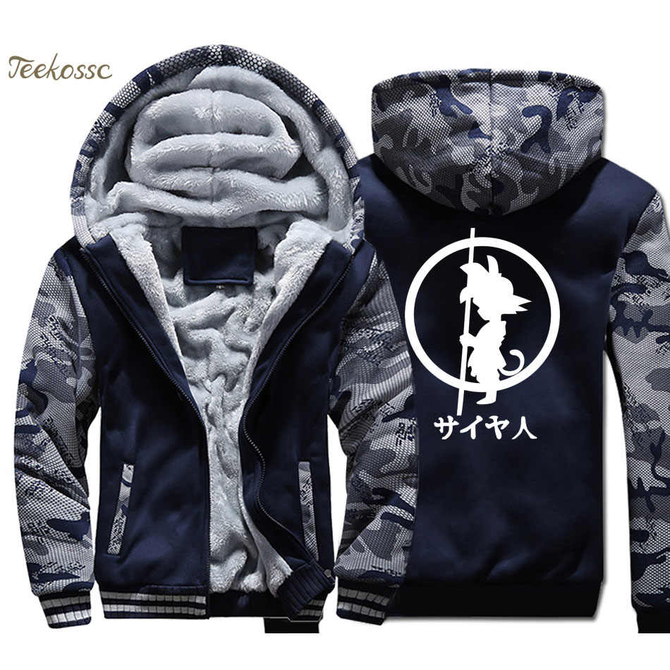 Dragon Ball Hoodie Männer Japan Anime Mit Kapuze Sweatshirt Mantel 2018 Winter Marke Warme Fleece Dicken Harajuku Super Jacke Herren