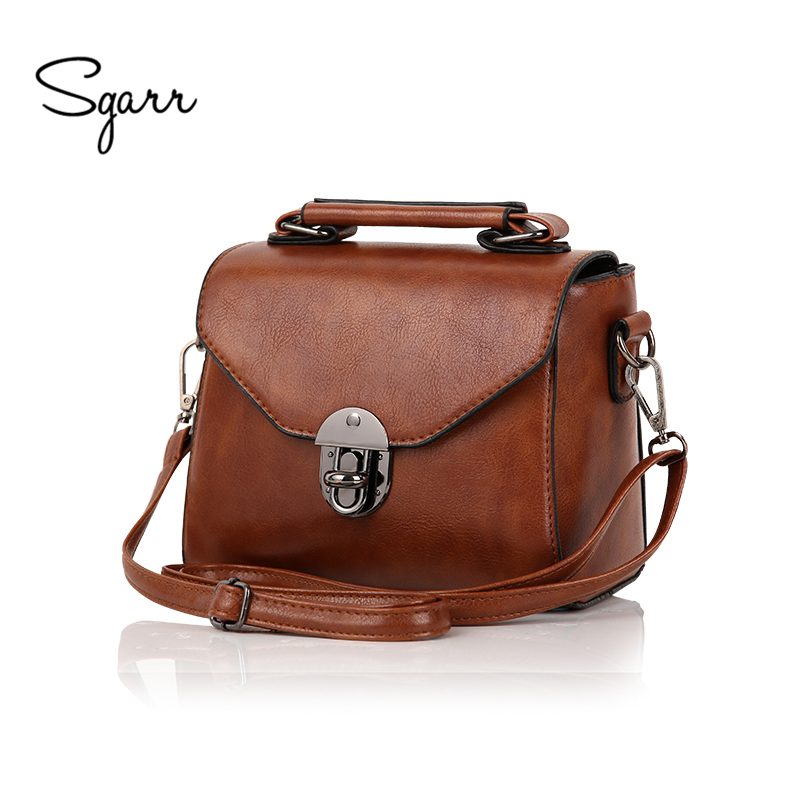 SGARR New Vintage Casual Women PU Leather Small Handbags Luxury Ladies Shoulder Crossbody Bag Black Retro Female Messensger Bags