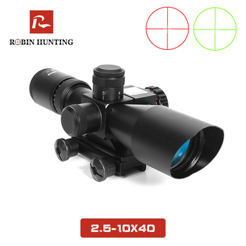 Robin Hunting 2.5-10X40 RiflescopeRed Green Mil-dot Crosshair Illuminated Tactical Riflescope with Red Laser Scope Hunting Scope