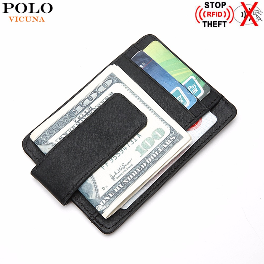 VICUNA POLO RFID Blocking Genuine Leather Man Wallet Minimalist Ultrathin Mens Money Clip Wallet Front Pocket Slim Short Wallet 2016 special wholesale male wallet wander settling anywhere a stall with spread out on ground short fund wallet ultrathin will