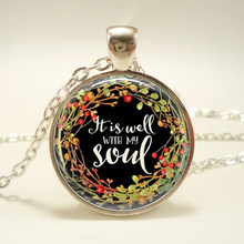 It Is Well With My Soul Necklace Religious Jewelry Bible Jewelry Gift for Her Christmas Gift for Women for men(China)
