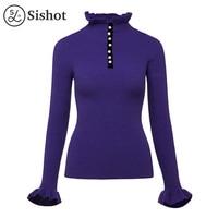 Sishot Women Casual Knitwear 2017 Autumn Winter Purple Plain Elegant Ruffled Collar Button Butterfly Sleeve Slim