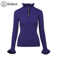 Sishot Women Casual Knitwear 2017 Autumn Winter Purple Plain Elegant Ruffled Collar Button Butterfly Sleeve Slim