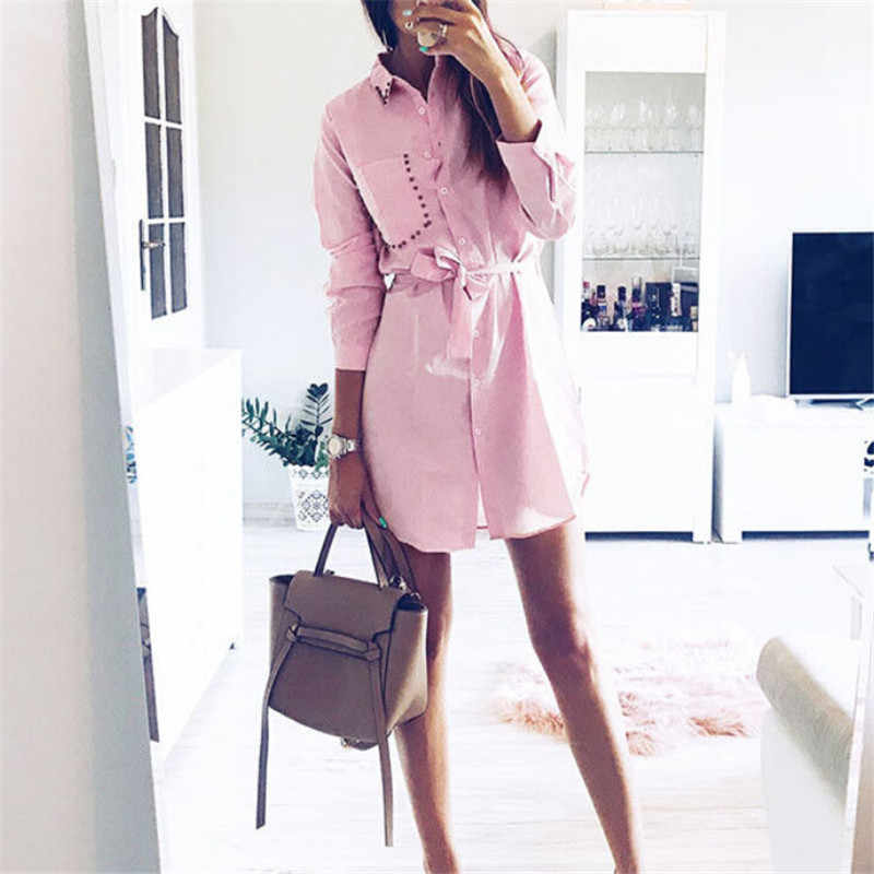 Women's Casual Long Sleeve Autumn Dress With Pocket 2018 New Fashion Ladies Loose Short Mini Dresses Button Down Vintage Dresses