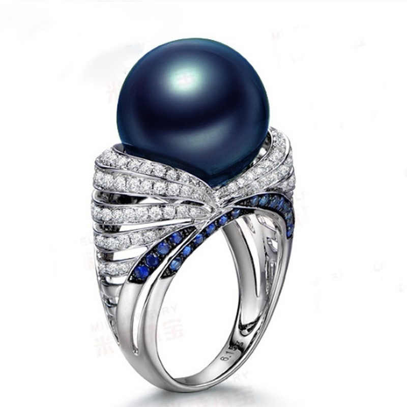 High Quality S925 Sterling Silver Wedding Rings For Women Natural Freshwater Blue Colors Big Pearl Jewelry Fashion Zircon Ring