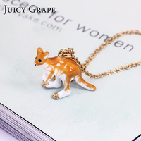 France New Arrivals Enamel Glaze Kangaroo Crystal Plated Really Gold Necklace Clavicle Chain Women Romantic Jewelry