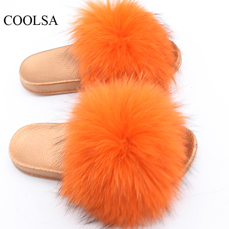 COOLSA Brand Women Summer Fur Slippers Women Raccoon Fur Slippers Non-slip Golden Soles Fur Slippers Women Fur Flip Flops Hot globe panther golden brown fur