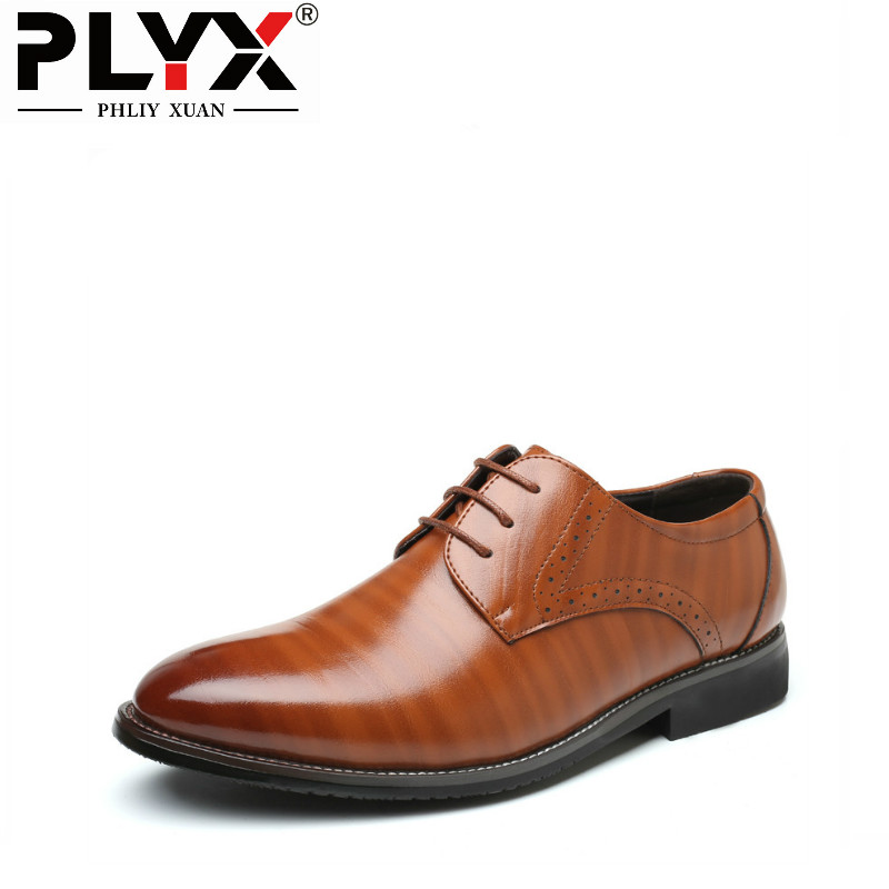 PHLIYX XUAN New 2019 Mens Formal Leather Shoes Elegant Office Business Dress Party Black Chaussure Hommes