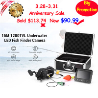 Night Vision Fish Finder 15M HD 1200TVL Underwater Camera LED Fishing Camera IP68 Infrared Lamp 165 Degree Wide Angle Fishfinder