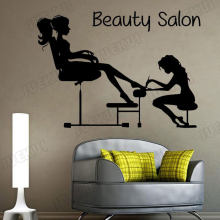 Pedicure Wall Decals Fashion Girl Nails Manicure Vinyl Wall Stickers for Beauty Salon Background Home Living Room Sticker TA688(China)