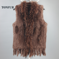 New Genuine Knitted Rabbit Fur Vest With Raccoon Fur Collar Real Rabbit Fur Gilet Winter Fur Waistcoat DFP781