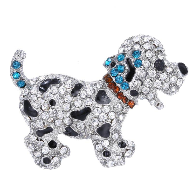 Animal brooch pins cute black dog silver plated large rhinestone brooch for women gift crystal brooches jewelry  пандора браслет с шармами