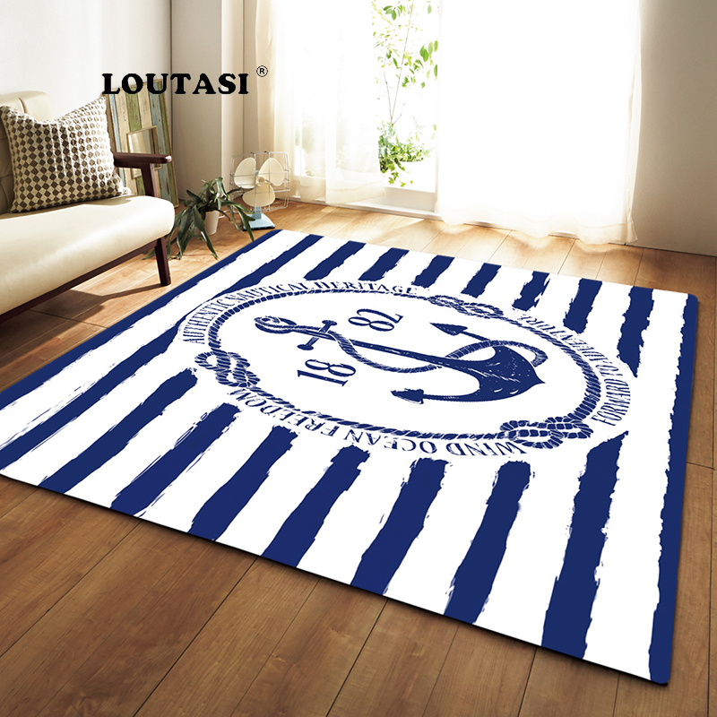 US $47.1 40% OFF|LOUTASI Anchor Printed Home Room Rugs Anti slip Large  Carpets For Living Room Bedroom Area Rug Home Decor Sofa Chair Floor  Mats-in ...