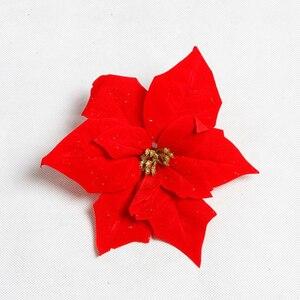 Image 5 - Franela de tacto Real flores artificiales Navidad rojo Poinsettia arbustos Ramos adornos de árbol de Navidad centro de mesa