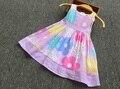 Catimini meninas do estilo lolita vestido 2016 nova Primavera & verão crianças bonito estampado floral arco meninas vestido de manga-less vestido de princesa da marca