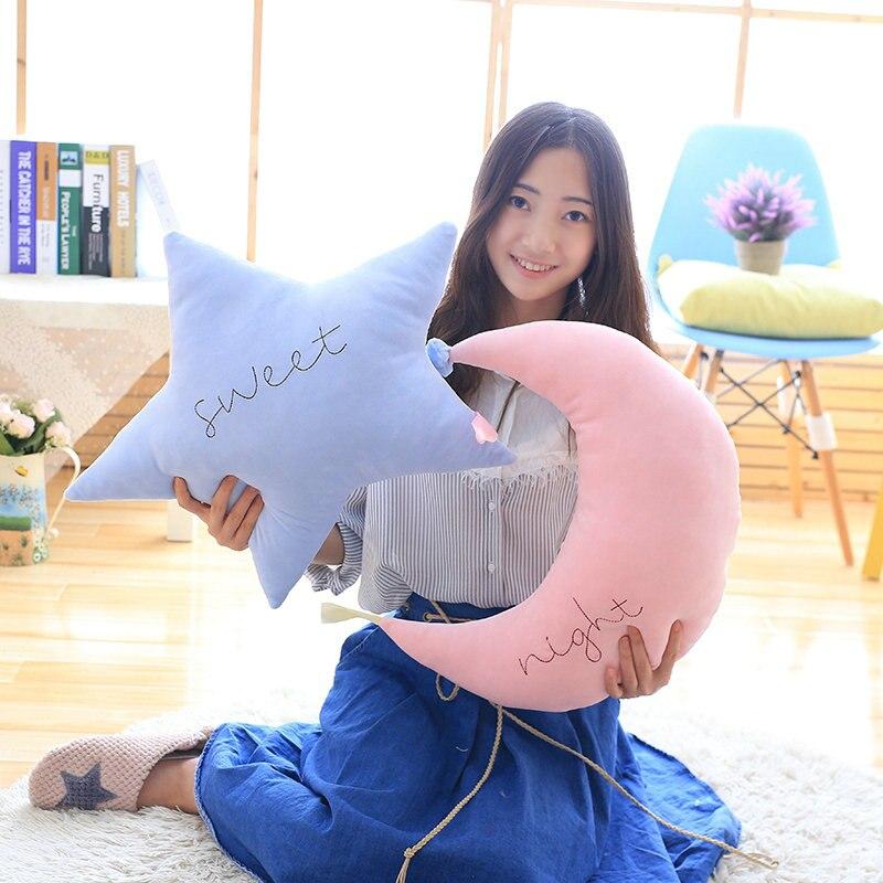 45cm Cartoon pink/blue Star/Moon Plush Pillows Staffed Soft Cushion Kawaii Baby Appease Doll Creative Sofa Cushion Girls Gift