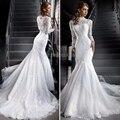 White Two Piece Lace Mermaid Wedding Dresses High Neck Long Sleeve Muslim Wedding Dress Muslin Bridal Dresses Wedding Gowns WM44