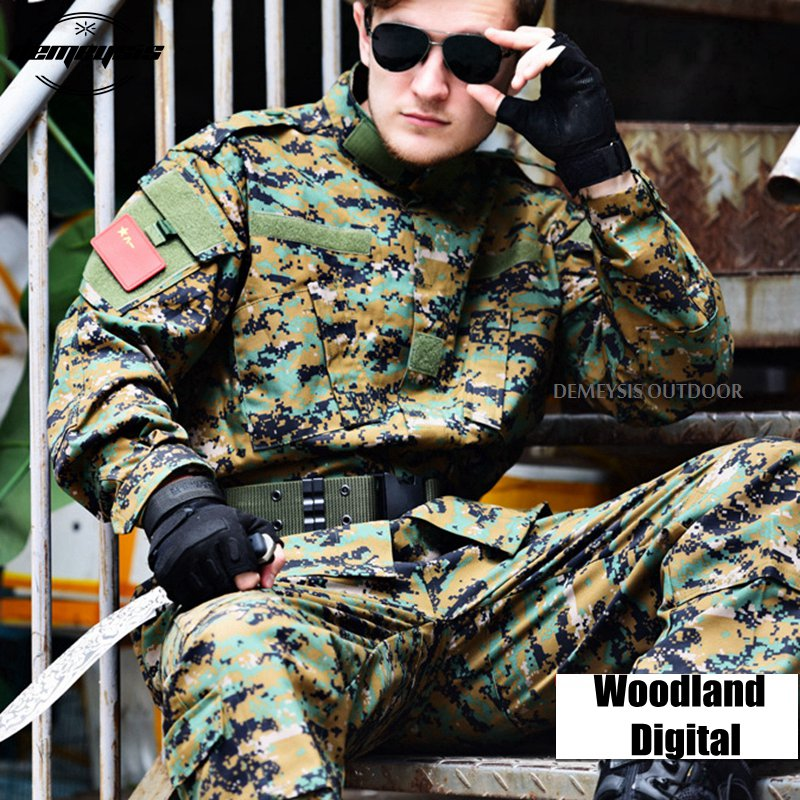 Woodland Digital Tactical Military Uniform Clothing Army Combat Uniform Tactical Jacket + Cargo Pants Camouflage Hunting Clothes lurker shark skin soft shell v4 military tactical jacket men waterproof windproof warm coat camouflage hooded camo army clothing