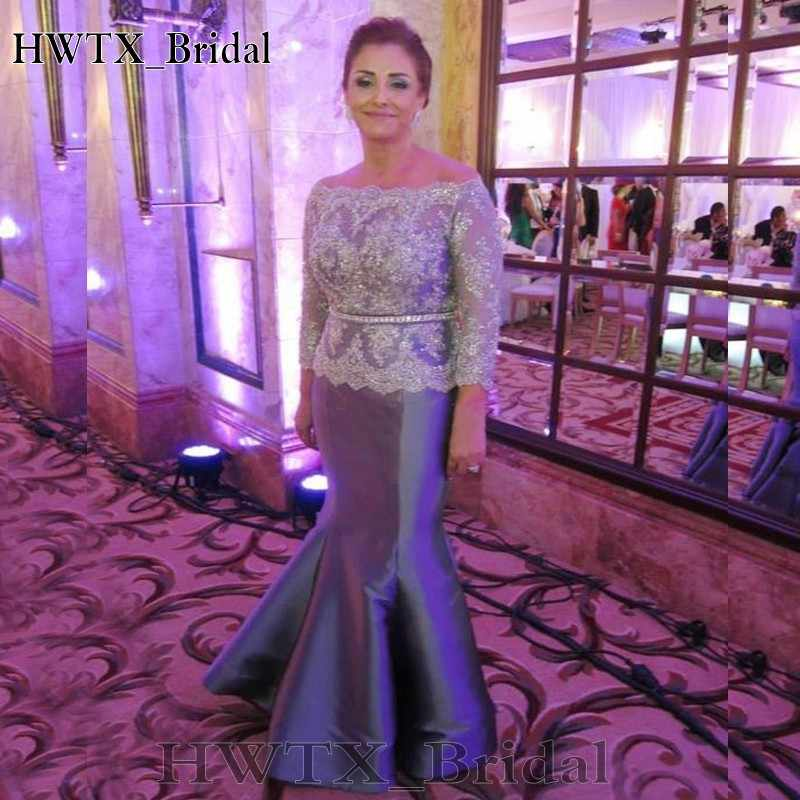 Plus Size Silver Gray Mother Of The Bride Dresses For Weddings 2018 Long  Sleeve Vintage Lace Beaded Mermaid Formal Evening Gowns