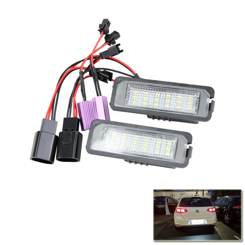 2x Auto Light MK5 GTI MK6 MK7 Golf 5 Glof 6 Golf 7 Xenon White Led Number License Plate Light Kit Canbus Error Free Car-Styling eonstime 2pcs canbus 18smd led number license plate light lamp for hyundai i30 gd 2013 2014 2015 auto car styling