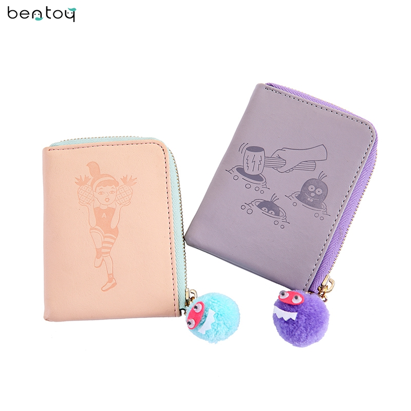 Bentoy Korea Women Leather Purse Credit Card Holder Mini Wallet Cartoon Coin Money Purse Pouch Card Case Cover For Girl Gift anime cartoon pocket monster pokemon wallet pikachu wallet leather student money bag card holder purse