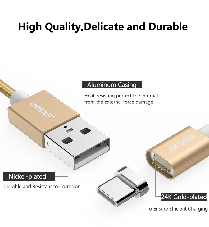 USB C Magnetic 5V 2A Type C Charging Data Wire Charger cable LED Light for Samsung Galaxy S9 Pro Xiaomi 5 Huawei Mobile phone in Data Cables from Consumer Electronics