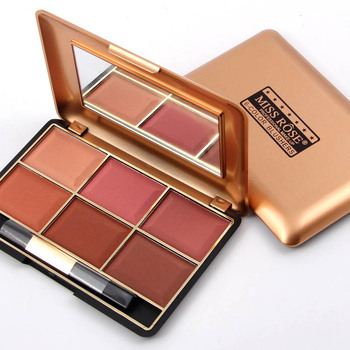 6 Colors MISS ROSE Professional Face Make Up Blusher Palettes Bronzer Contour Powder Makeup Tool Promotion Price