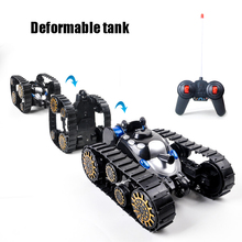 Novel stunt tank RC Deformed tank Flip Transformable Pedrail Good gifts Toys for children boy Track deformed tanks Car Boy toys doit 2pcs lot plastic caterpillar chain track pedrail thread tracker wheel for tank crawler chassis diy rc toy remote uno r3 kit