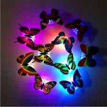 10 pçs sala de crianças colorido borboleta led night light mudando lâmpada casa romântico quarto festa decoração da parede da noite luz