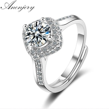 ANENJERY 925 Sterling Silver New Luxury Dazzling CZ Mosaic AAAAA Zircon adjustable Rings For Women Wedding Ring S-R276