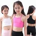 Crianças underwear modelo tanque partes superiores das meninas colete de algodão criança mundo do tanque camisola das crianças doce cor bra meninas roupas de verão