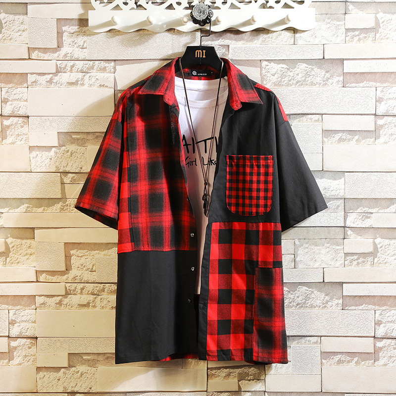 0126 Summer Plus Size 4XL 5XL Japan Hip Hop Shirt Men Patchwork Lapel Collar Short Sleeve Shirt For Men Short Sleeve Streetwear in Casual Shirts from Men 39 s Clothing