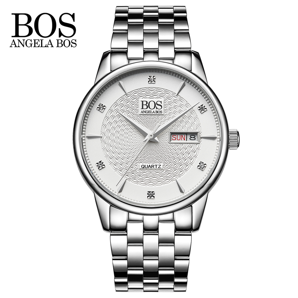 ANGELA BOS Business Quartz-watch Stainless Steel Mens Watches Top Brand Luxury Calendar Week Rhinestones Wavy Texture Watch Men angela bos chronograph stop watch top brand luxury sport quartz watch stainless steel mens watches fashion business men clock