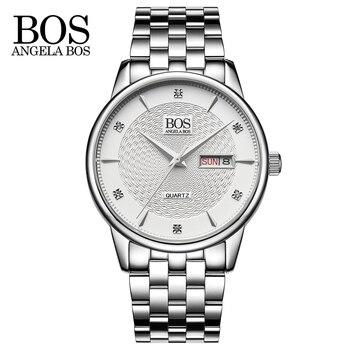 ANGELA BOS Business Quartz-watch Stainless Steel Mens Watches Top Brand Luxury Calendar Week Rhinestones Wavy Texture Watch Men дамски часовници розово злато