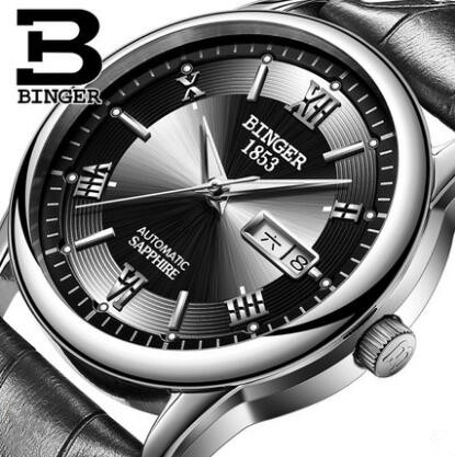 Binger Men's Classic Diving Series Mechanical Watches Waterproof Steel Stainless Brand Luxury Watch Men Relogio Masculino binger men s classic mechanical watches waterproof rose gold steel stainless brand luxury watch men automatic relogio masculino