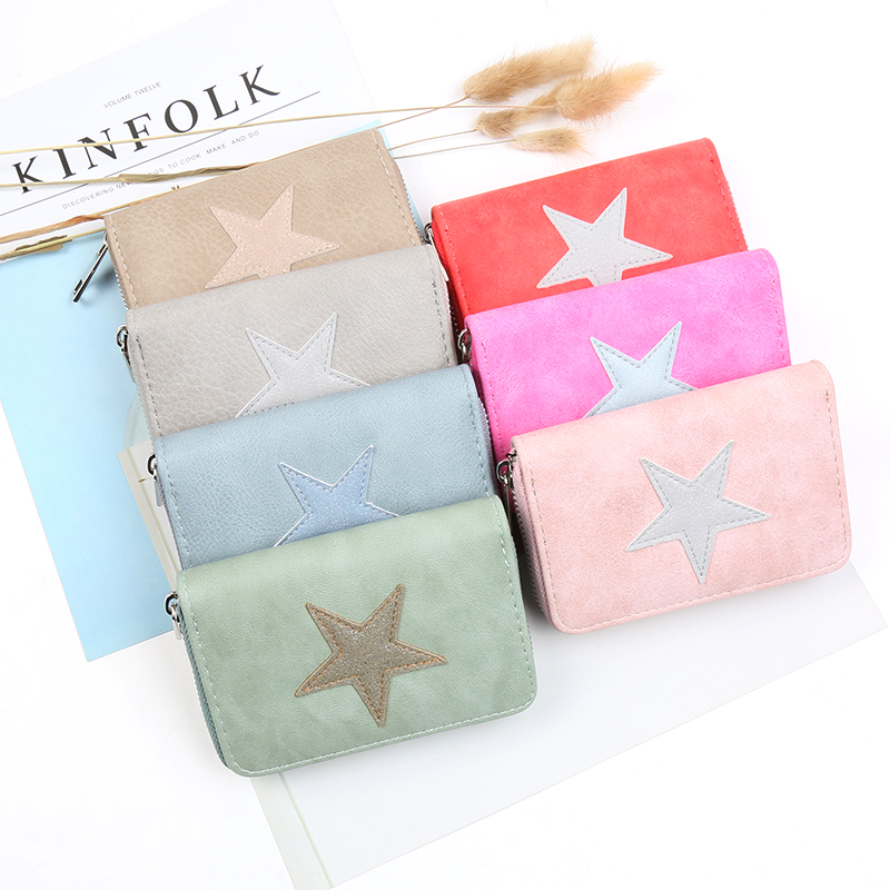 Short Women Wallets PU Leather Lovely Star Pattern Wallet For Girls Brand Lady Purses Small Gift Card Holder Coin Purse 500859 new fashion leather small lady wallets women coin purse short with card holder vintage girls wallet mini purses best gift 500835