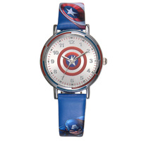 Disney brand Children watch cartoon quartz waterproof boys wristwatches leather The Avengers Captain America Shield students