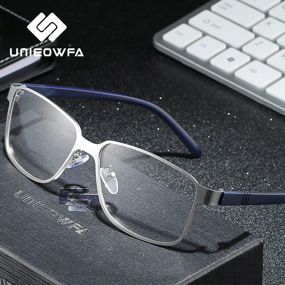 UNIEOWFA Myopia Prescription Glasses For Men Blue Light Blocking Photochromic Eyewear Optical Progressive Eyeglasses Korea TR90